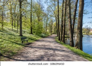 enjoy spring atmosphere in the city park along Motala river in Norrkoping, Sweden