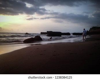 Enjoy Sunset Panorama By The Beach At Batu Bolong Beach, Canggu Village, Badung, Bali, Indonesia