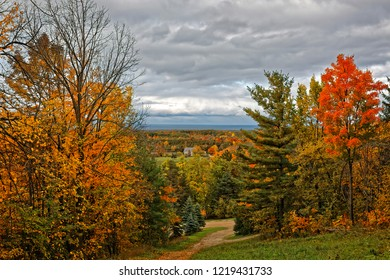 Enjoying the Autumn colors of the Blue Mountains, looking north at southern Georgian Bay, near Collingwood, Ontario.