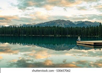 Enjoying the beautiful landscape by Annette Lake in Jasper National Park, Canada