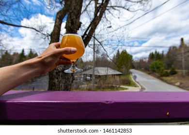 Enjoying a beer on an outdoor terrace. A first person view of a person holding a chalice glass of beer up in the air, against a natural landscape with copy space. Relaxing at the end of a hard day.