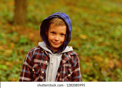 Enjoying childhood years. Small boy play childhood games outdoor. Small child on natural landscape. Cute boy on fresh air. Childhood is a short season.
