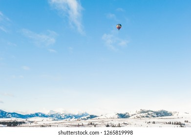 Enjoying Flying in a Hot Air Balloon in Winter
