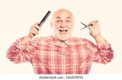 Enjoying morning routine. shaving scissors tool kit. mature bearded man isolated on white. cut and brush hair. unshaven old man has moustache and beard. barbershop concept. shaving accessories.