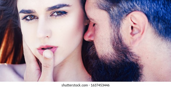 Enjoying pleasure. Affectionate couple caressing adoring each other. Intimate relationship and sexual relations. Hot woman moaning in ecstasy embracing man