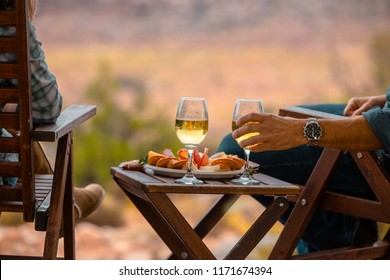 Enjoying Some Wine While Luxury Camping In The Desert