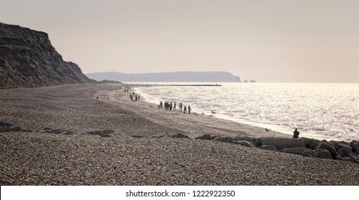 Enjoying a stroll along the beach at Hengistbury Head, Dorset, England, UK.