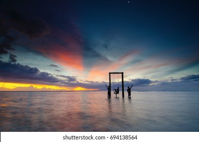 Enjoying sunset with friends at Gili Trawangan Island, Lombok, Indonesia