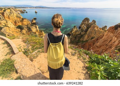Enjoying the view from a cliff in Lagos, Algarve