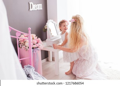 Enjoying your own beauty, mother and daughter