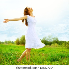 Enjoyment. Free Happy Woman Enjoying Nature. Beauty Girl Outdoor. Freedom concept