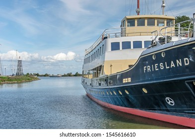 Enkhuizen, The Netherlands, September 13, 2019: former Wadden Sea ferry boat Friesland, now a tour boat, moored in the ferry harbour