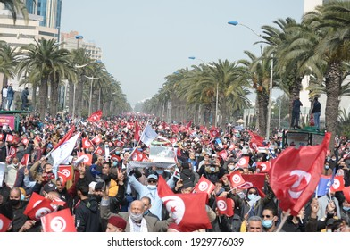 Ennahda party supporters held a demonstration in Tunisia, Tunis Tunisia, 27 February 2021