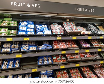 Ennis, Ireland - Nov 17th, 2017:  Aldi Store in Ennis County Clare, Ireland. Selection of various fruit and  vegetables