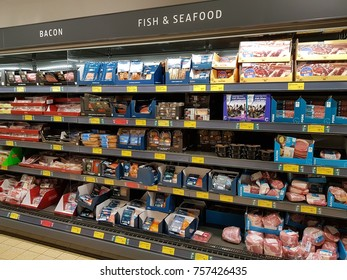 Ennis, Ireland - Nov 17th, 2017:  Aldi Store in Ennis County Clare, Ireland. Selection of various Irish seafood