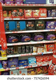 Ennis, Ireland - Nov 17th, 2017:  Tesco Store in Ennis County Clare, Ireland. Selection of various christmas chocolates, sweets, biscuits.