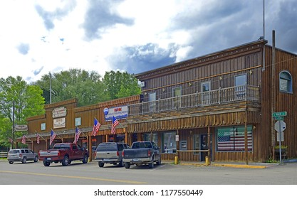 ENNIS, MONTANA - JUNE 20, 2018: Main Street in Ennis. Ennis is a town in Madison County, Montana, United States, in the southwestern part of the state. Ennis is a major tourist attraction in this area