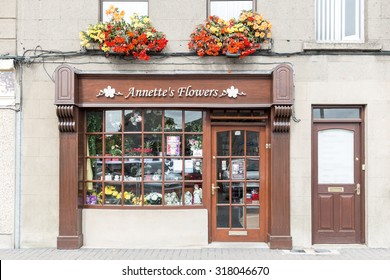 ENNISCORTHY, IRELAND - AUGUST 16, 2015: Annettes Flowers shop. It is a small floral shop in a rural town in Ireland.