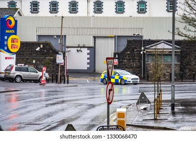 ENNISKILLEN, ULSTER / NORTHERN IRELAND - MARCH 03 2019 : The police station is protected by a huge fence a couple of days before the Brexit.