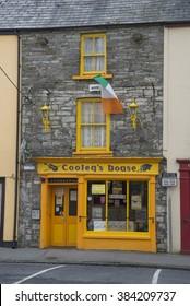 ENNISTYMON, IRELAND - FEBRUARY 28, 2016: Colorful bright front of irish shop