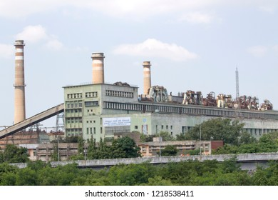 Ennore, North Chennai, Tamil Nadu in India on September 8, 2018: Ennore Thermal Power Station with Blue Sky Background