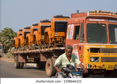 Ennore North Chennai, Tamil Nadu in India – March 05, 2019: Vehicle Cabs and Spares for Ashok Leyland Company
