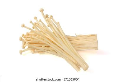 Enoki mushroom, Golden needle mushroom isolated on white backgro