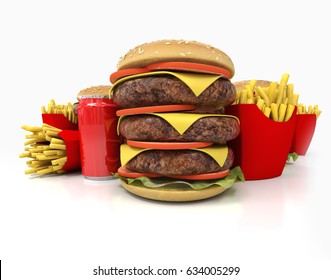 Enormous amount of food including huge hamburgers, fries and soda 3D rendering