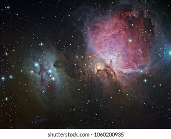 """The enormous star-forming region in the """"sword"""" of Orion, together with """"The Running Man"""" nebula. This is an original image that I created with a telescope and camera."""