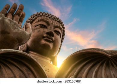 The enormous Tian Tan Buddha at Po Lin Monastery in Hong Kong.