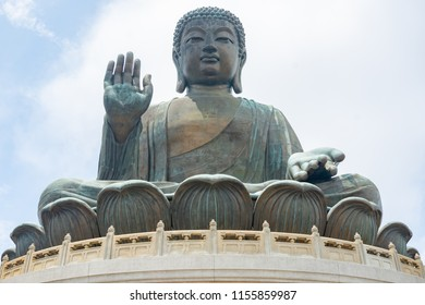 The enormous Tian Tan Buddha  statue at Po Lin Monastery in Ngong Ping Hong Kong.