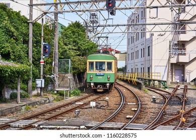 "Enoshima Electric Railroad retro train Landscape in Kanagawa Prefecture Character content ""Fujisawa - Kamakura"""