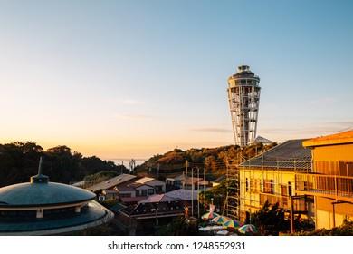 Enoshima island lighthouse and sunset view in kanagawa, Japan