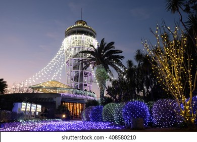 Enoshima, Japan- Jan 09, 2016: Winter illuminations and Enoshima lighthouse in Japan