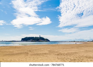 Enoshima and the ocean.Shooting location is Shichirigahama Kamakura, Kanagawa Prefecture Japan.
