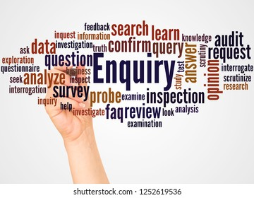 Enquiry word cloud and hand with marker concept on white background.