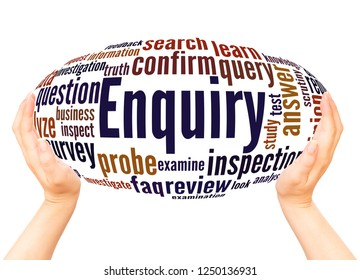 Enquiry word cloud hand sphere concept on white background.