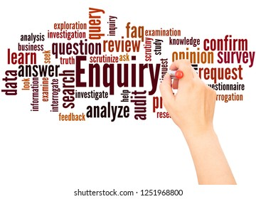 Enquiry word cloud hand writing concept on white background.