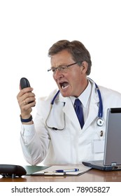Enraged chief doctor screams loud into phone.Isolated on white background.