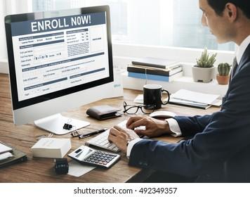 Enroll Now Registration Membership Concept