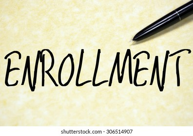 enrollment word write on paper