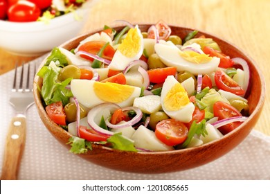 Ensalada campera traditional spanish salad with fresh vegetables and eggs