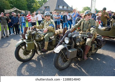 ENSCHEDE, THE NETHERLANDS - 01 SEPT, 2018: Two motorcycle's passing by during a military army show.