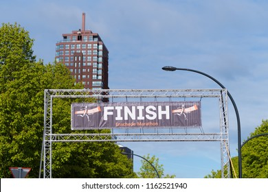 ENSCHEDE, NETHERLANDS, APRIL 23, 2017: Finish line of the Enschede Marathon, also known as the ladies first marathon
