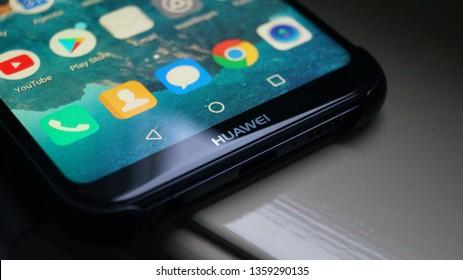 Enschede, Netherlands - april 4 2019: Huawei p20 Lite