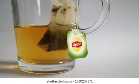 Enschede, The Netherlands - April 5 2019: Lipton tea label cup of tea