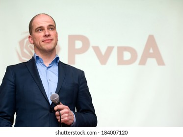 ENSCHEDE, NETHERLANDS - MARCH 23: Political leader Diederik Samsom of the Dutch social democratic party PvdA on a meeting listening and discussing with people, March 23, 2013 in the Netherlands