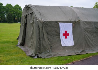 ENSCHEDE, NETHERLANDS - MAY 13, 2017: Red cross military field hospital during the dutch military annual open days