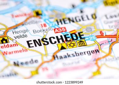 Enschede. Netherlands on a map