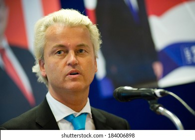 ENSCHEDE, NETHERLANDS - SEP 05: Political leader Geert Wilders of the Dutch center right party PVV defending his plans in a radio interview, SEPTEMBER 05, 2012 in the Netherlands